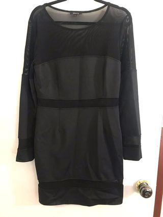 Black mesh cut out dress L