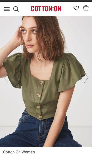 🚚 AVA Blouse [Olive Green]