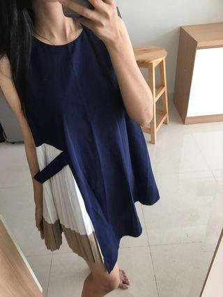 Dress navy pleats