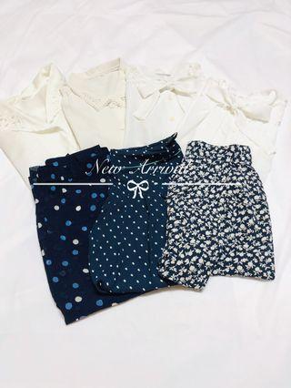 [這是預覽圖,4/5上單獨圖]日本購入日本製春夏款復古綁蝴蝶結通花花瓣領鈕扣短袖中袖恤衫上衣返工衫復古波點裙Vintage blouse dress