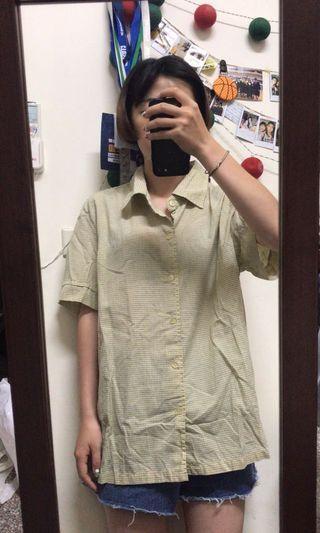 淺黃格紋古著襯衫