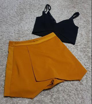 Tracy set || TEM/the editor's market cut out black bralet/bralette and korean ulzzang mustard skirt with safety shorts/skorts