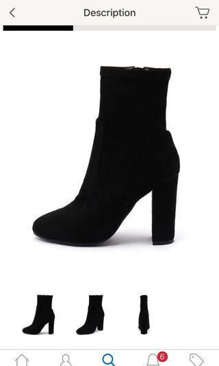 Top End Samala Black Suede Ankle Boots Size 8