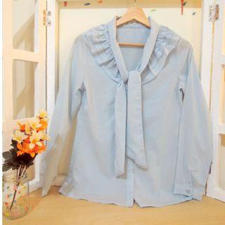日系淺藍素色辦公室窄裙職員優雅蝴蝶結襯衫