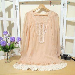 粉嫩優雅日系公主蕾絲布扣質感輕柔雪紡紗洋裝連身裙