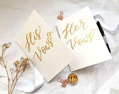 Gold ink calligraphy wedding vow cards
