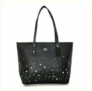 COACH City Zip Tote with Stardust / Tas COACH Original Murah / COACH Sling Bag Original Murah