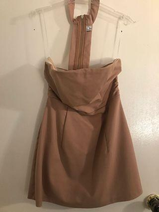 Light tan/beige choker dress 12