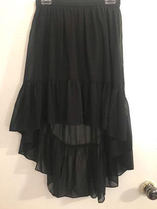 High low black skirt M
