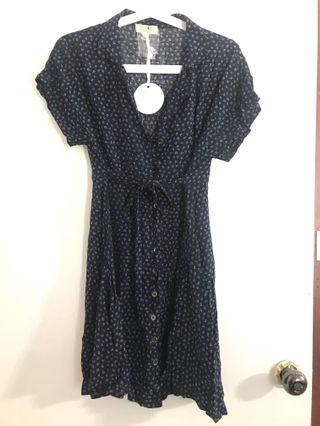 Navy blue pattern dress L