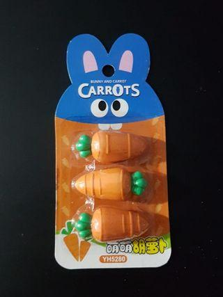 BN Set of 3 Carrot Erasers