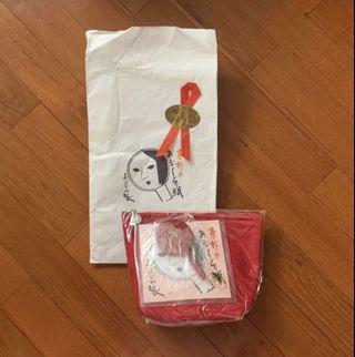 日本京都yojiya 紅色化妝袋連鏡