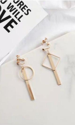 BNWT Clip On Geometric Dangling Earrings