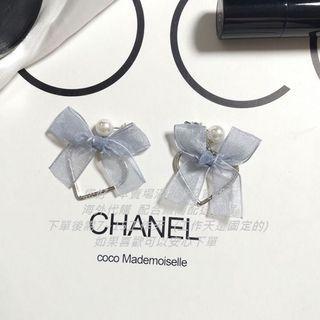 🚚 蝴蝶結珍珠綁帶耳夾