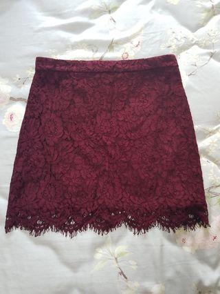 Lace skirt maroon