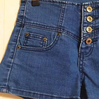 🚚 四排扣高腰A字牛仔短褲-深海藍