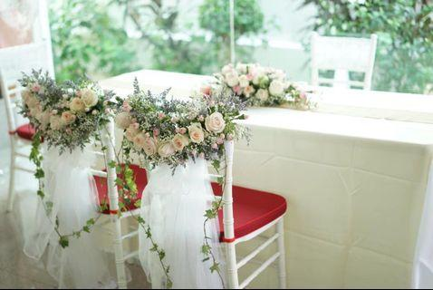 WEDDING SOLEMNIZATION DECOR PACKAGE / BRIDAL COUPLE'S CHAIRS / FLORAL ARCH