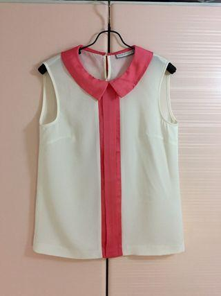 Stage of Playlord 雪紡粉紅色背心 Silk Vest Pink White Top