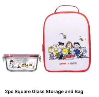 Pyrex Snoopy 2pc glass storage and bag