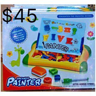 幼兒/兒童益智玩具 英文數字磁貼畫板套裝 $45