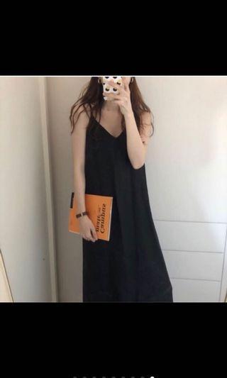 黑色棉麻連身裙