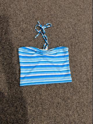 Seafolly - girls blue striped halter swimsuit top #swapau