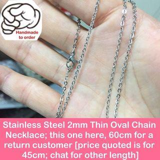 $8 (for 45cm; other length, chat please) - Stainless steel thin oval chain (link size: 2x2.5mm) [chokers necklaces length be customised; uncle anthony] FOLLOW THIS LINK B4 U CHAT TO ORDER: 👉 http://carousell.com/p/148953523