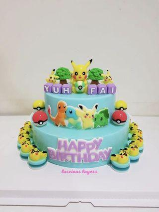 2 tiers Pokemon jelly cake
