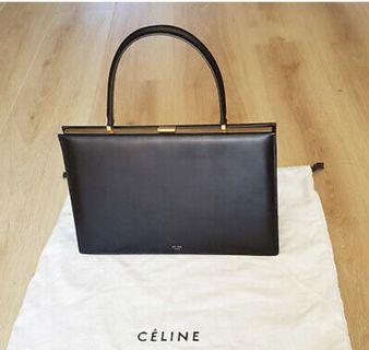 Old celine medium clasp bag calfskin黑色