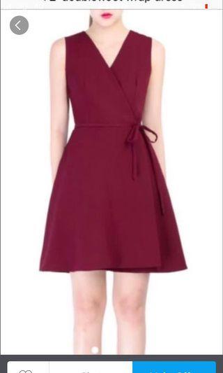 Doublewoot Maroon Wrap Dress / Work Wear