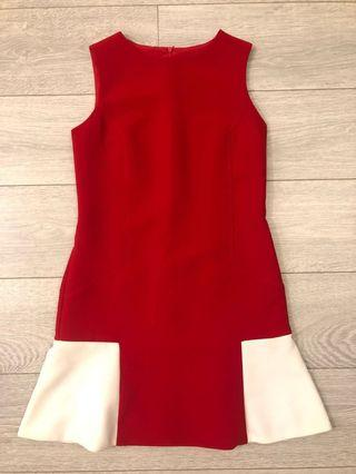Red Dress with white highlights perfect for work or cocktail small