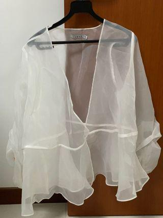 White Sheer Blouse/ Outerwear for hari raya