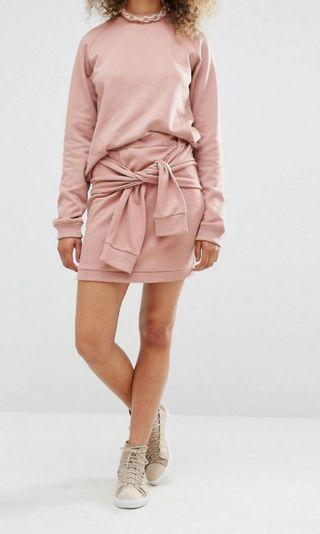 🚚 Pink Skirt With Tie Front