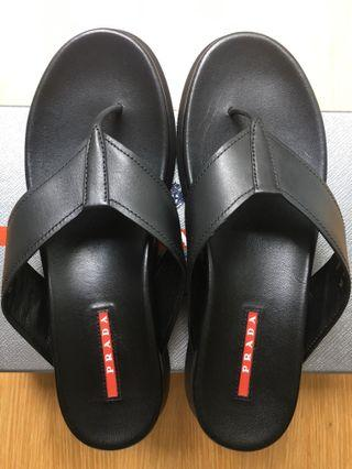 NEW Prada Leather Slides Slippers Sandals, black, size EU 39, 9