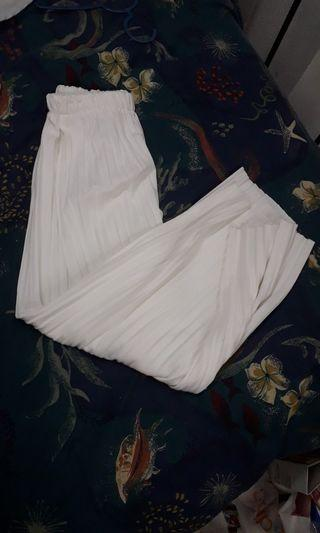 White Pleated Palazzo Pants