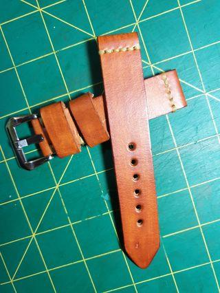 🚚 22mm Cowhide Leather tanned  with buckle