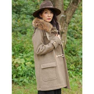 日本品牌GOA絕版木扣羊毛毛領牛角外套