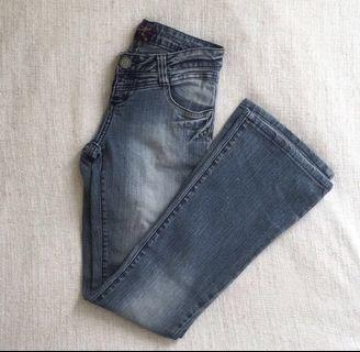 Redgirl Skinny Flare Medium Wash Low Waist Blue Denim Jeans