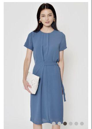 Clifton belted dress ash blue