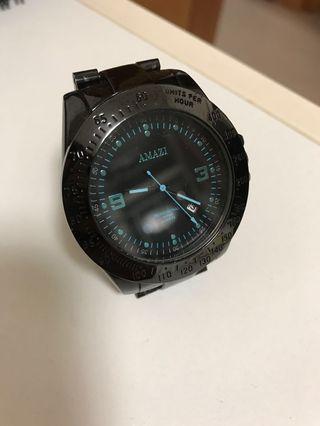 AMAZI 極致黑鋼帶錶(天藍色)