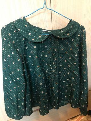 寶石綠碎花超輕泡泡襯衫