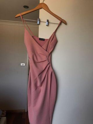 Pink formal wrap bodycon dress