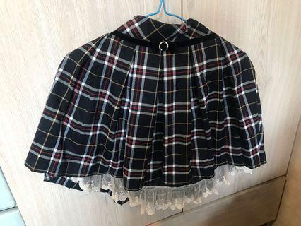 日本牌子secret magic 深藍格仔A字裙