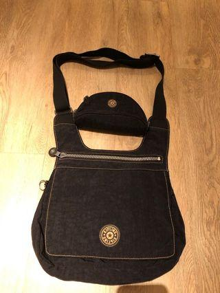 Kipling black sling bag with pouch