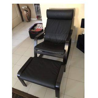 IKEA Leather Poang Armchair & Ottoman Chair