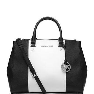 MICHAEL KORS Sutton Center Stripe Satchel.