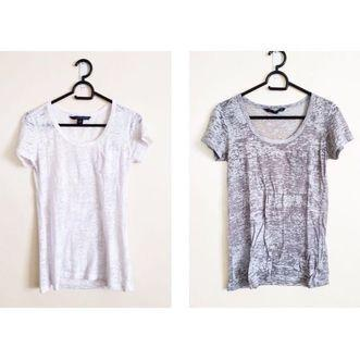 Perfect White and Gray Burnout Vintage Style T Shirt Set