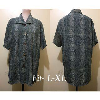 Buttoned down Dark Patterned Blouse