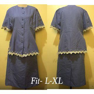 Collared Blouse and Skirt Terno