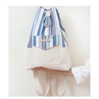 Mouton blanC寬帶台灣手作束口帆布包後背包